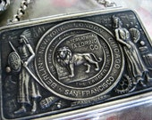 35% OFF Sale lion king of tailors - antique match safe assemblage necklace