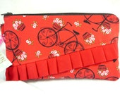 Fun red bicycle wristlet / gadget bag with ruffles and detachable strap