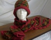CROCHETED BEANIE, DECORATIVE SCARF AND GLOVES(MITTENS) SET IN MULTICOLORED FALL AND RANCH RED