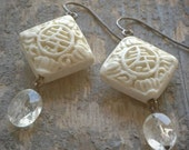 long life cream cinnabar lantern earrings. ivory cinnabar & faceted citrine ovals on oxidized sterling silver by val b.