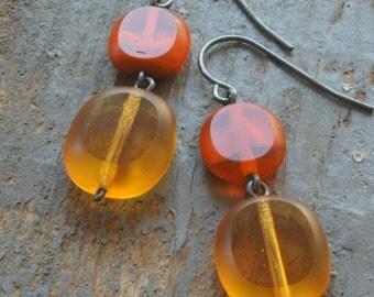 CLEARANCE: dessert sunrise earrings. orange & gold czech glass. oxidized sterling silver ooak by val b.