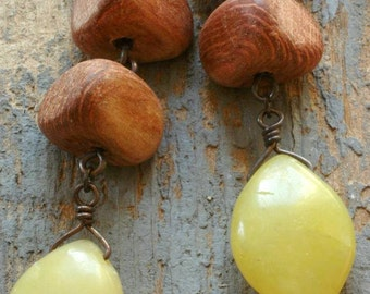 wood and olive jade earrings on oxidized sterling silver by val b.