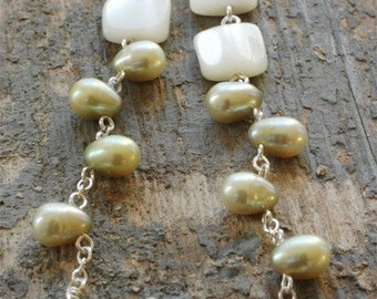 pearly vines earrings. pale green freshwater pearls & white mother-of-pearl on sterling silver by val b.