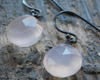 pale pink faceted chalcedony drops earrings. buff stone on oxidized sterling silver by val b.