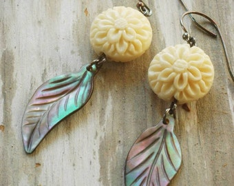 chrysanthemum and feather earrings. shell & bone beads on oxidized sterling silver by val b.