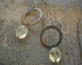 little patina halo earrings. citrine on oxidized sterling silver by val b.