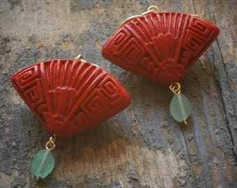 red fan cinnabar earrings with green adventurine on gold fill by val b.