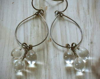 vintage clear cluster hoop earrings. japanese glass drops on oxidized sterling silver.