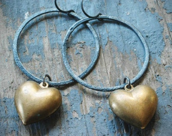hearts n' hoops. vintage brass charm and oxidized brushed sterling silver hoop earrings by val b.