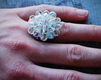 crystal cluster. vintage re-purposed adjustable crystal bead ring by val b.