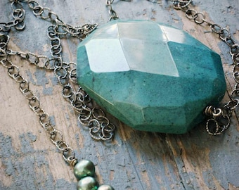 chunky faceted green jasper pendant necklace on adjustable oxidized sterling silver chain by val b..