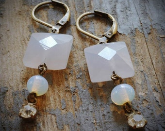 sweet pale lavender earrings. faceted chalcedony squares, opal glass and vintage rhinestones on antiqued brass by val b.