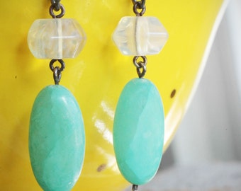 mint green chalcedony stone & glass earrings on oxidized sterling silver by val b.