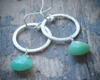 chrysophrase drop halo earrings. faceted apple green drops on brushed sterling silver hoops by val b.