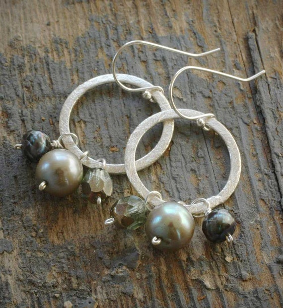 silver halo earrings. grey/gray freshwater pearls. brushed sterling silver rings.