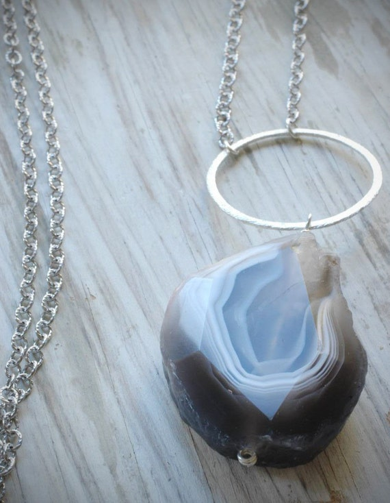 gray & white sliced agate stone and brushed sterling silver ring long necklace on sterling chain by val b.