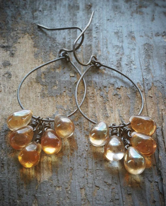 citrine-tone cluster hoop earrings. czech glass drops and oxidized sterling silver by val b.