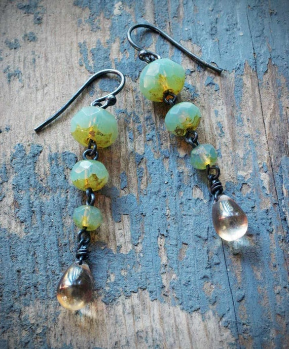 tapered mint green and golden drop czech glass earrings on oxidized sterling silver by val b.