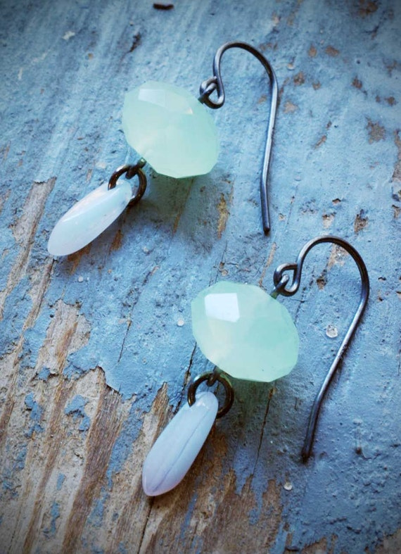 mint crystal bauble earrings. oxidized sterling silver by val b.