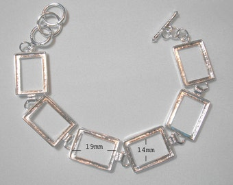 "Silver Plated Brass Bracelet Bezel Cabochon Setting - Rectangle  8""  Sale 50 % off"