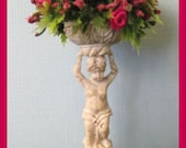 Dollhouse Statue Urn With Miniature Roses