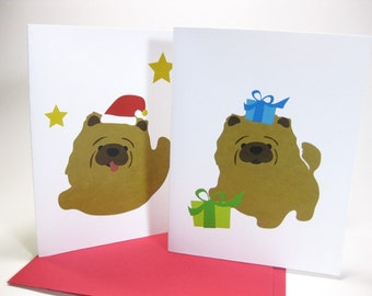 10 Chow-C the Chow Chow Puppy Holiday Christmas Greeting Cards - Chow Chow with Santa Hat and Presents