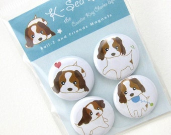 Cavalier King Charles Spaniel Puppy Magnets - K-Sea the Puppy from Ball-Z and Friends Series