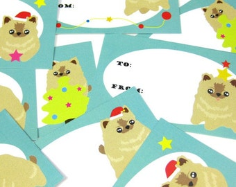 Pomeranian Gift Tags - Holiday with Pom-Pom the Pomeranian Puppy GTPP001