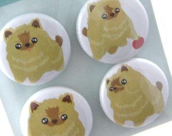 Pomeranian Magnets - Pom-Pom the Pomeranian Puppy Dog Magnet Set of 4 MIPP001