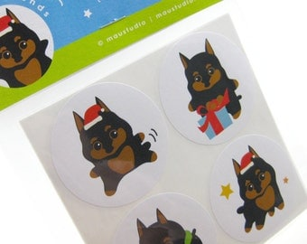 Minature Pinscher Stickers - Mini-Pin Puppy and the Holidays Stickers Labels