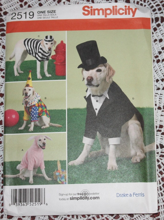 Simplicity 2519 Dog Clothes Tuxedo Costume Pattern