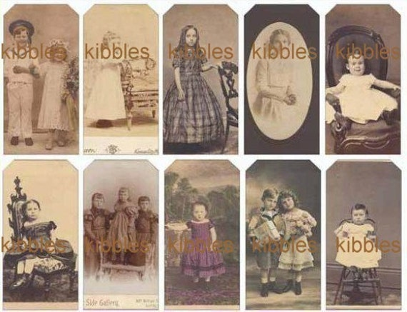 60 Vintage Children Photo Hang Tags Price Tags