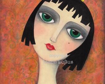 Gothic Girl Art Print Grunge Surreal Princess Queen Folk Art