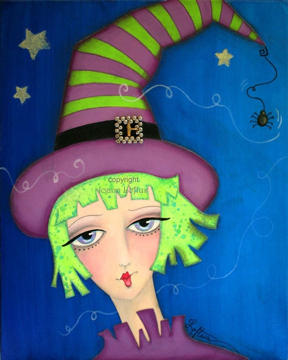 Halloween Art Print Whimsical Witch Funky Painting by Joann Loftus