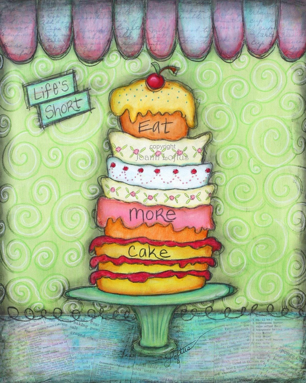 Cake Art Printer : Kitchen Art Print Whimsical Cupcake Cake by whimsiesfolksies