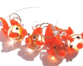 Giddy Goldfish Stitch Markers - set of four - US10