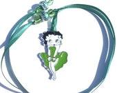 Flirty Green Betty Boop Satin Ribbon Beaded Bookmarker