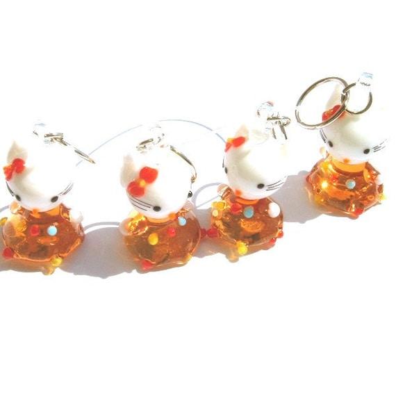 Hello Orange Party Dress Kitty Stitch Markers - set of four - US10