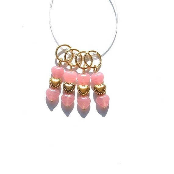 Cotton Candy Pink Stacked Hearts Stitch Markers - set of four - US7