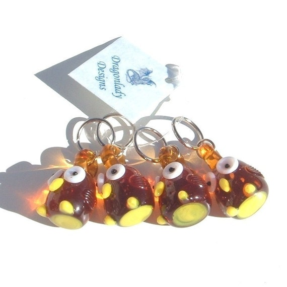 Happy Hooters Stitch Markers - set of four - US10