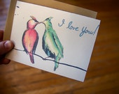 SALE - Love Birds - Single note card
