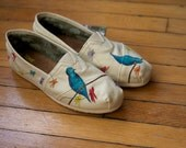 Size 8.5 - Blue Birds and Wildflowers All Over Custom TOMS Shoes - Ready to Ship