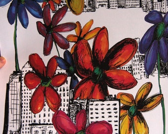 Wildflowers Live Here Too - 11 x 14 Print