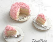 Pink Coconut Cake with two Servings on porcelain plates - Dollhouse Miniature Food