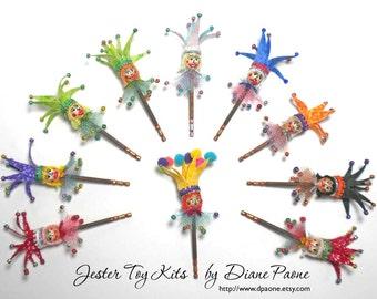 DYI Dollhouse Miniature JESTER TOY Kit - Pick 1 of 10 Designs - Halloween Christmas Mardi Gras Birthday