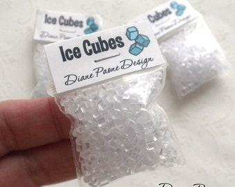 Ice Cubes for Miniature Drinks and Cold Displays - Dollhouse Miniature Food Supplies