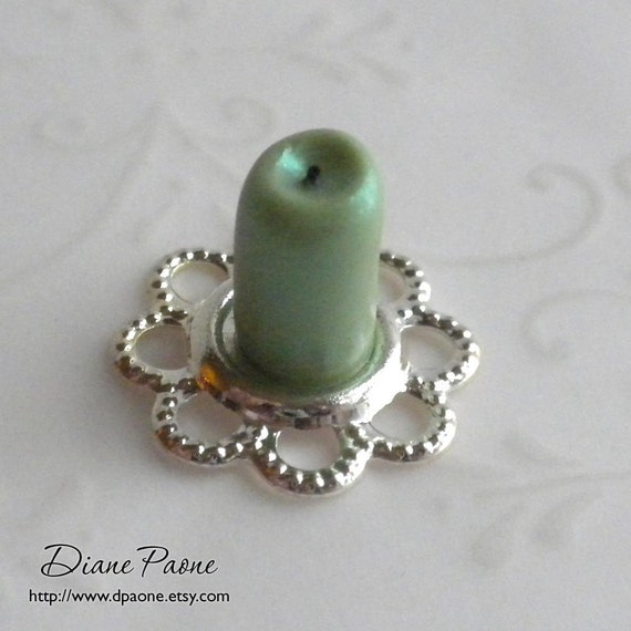 Frosted Green Candle - St Patricks Day - Dollhouse Miniature Candle