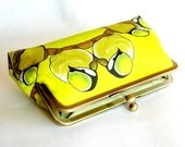 Kisslock Frame Clutch Silk Lined Yellow Birds on a Branch Bridesmaid Bride Wedding Gifts Preppy Prep Bridal