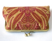 Kisslock Clutch Silk lined Frame Handbag Red Peacock Bridesmaid Bride autumn fall Preppy Bridal