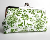 Green and White Silhouette Forest Frame Clutch with Pink Interior Optional Silk Lining